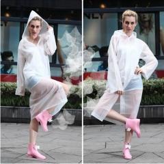 Women EVA Transparent Raincoat Poncho Portable Light Raincoat NOT Disposable Rain Coat For Adult white
