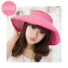 kids--Summer Foldable Crocheted Straw Hat Girls Beach Parent-child Sun Hats pink child