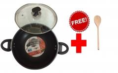 Fine Wok/karhai non stick (glass lid) Black 32cm DIA-11cm depth