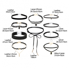10 PCS/Set New Gothic Tattoo Leather Choker Necklaces Set for Women Hollow Out  Lace Jewellery black one size