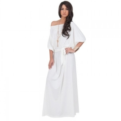 Large size women's sexy collar in the collar solid color dress white L