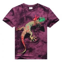 Men's 3D stereoscopic pattern short-sleeved cotton T-shirt red m