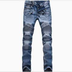 Men's light-colored folds Slim-footed jeans blue1808 28