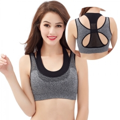 Fake 2 pieces without steel ring full cup shock sports bra black s