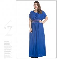 Topfashion Bohemia New Elegant Casual Summer Beach Dress Dark Blue L