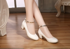 Topfashion  Women High Heel Shoes Sexy Bride Party Office Thick Heel Round Toe Leather White 34