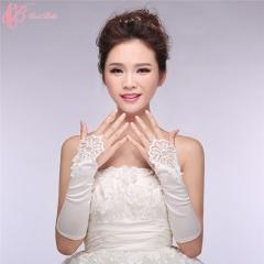 2017 Cestbella Pretty Hand Gloves Long White Satin Bridal Gloves pure white normal size