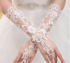 Great Low Price Elegant Rhimestone Elbow Floral Formal Cestbella  Wedding Bridal Glove pure white normal size