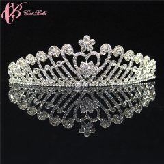 2017 Cestbella Pageant Wedding Tiara Crown With Love and Flower Crystal silver 01