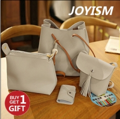 Joyism 4 PCS Graceful Solid Color Design Women Luxury Handbag  PU Leather Shoulder Bags Tote grey f