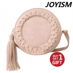 Joys Women Tassel Bag Woven Crossbody Bags Shoulder Bag Ladies Cute Knitting Circular  Messenger Bag pink f