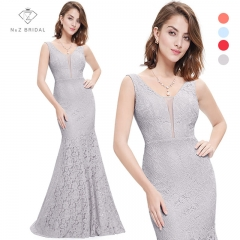 Lace Mermaid Prom Dresses Long 2017 N&Z Fashion Small Train Sexy Trumpet V-Neck Elegant grey 8
