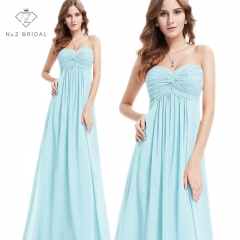 Sweetheart Neckline Strapless Pleated Bust Bridesmaid Dress blue 4