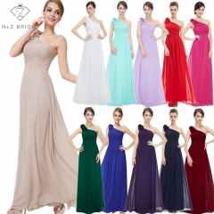 NZ17823717 One Strap Flower Docorated Pleated Full Length Bridesmaid Dress wine red 16