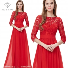 Elegante 3/4 Sleeves Lace Wedding Dress Party Dress red 4