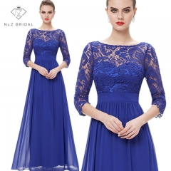 Elegante 3/4 Sleeves Lace Wedding Dress Party Dress blue 4