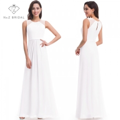 NZ Beadings Decorated A line Floor Length Evening Dress Formal Wear white 4