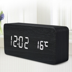 LED Wooden Alarm Clock Time Temperature Week Calendar Display for Home Office black Normal