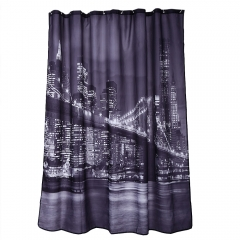 City Night View Pattern Waterproof Bathing Shower Curtain Polyester Bathroom 180*180cm Decor As the pictures 180*180cm