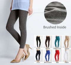 Women's Solid Winter Thick Warm Fleece Lined Thermal Stretchy Leggings Pants white one size