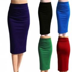 New Ladies Plain Office Womens Stretch Bodycon Midi Jersey Pencil Skirt blue s