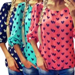 New Fashion Womens Ladies Loose Chiffon Tops Long Sleeve T-Shirt Casual Blouse green s