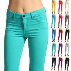 Fashion Women's Casual Skinny Leg Jeggings Pencil Pants Stretchy Jeans Trousers navy l