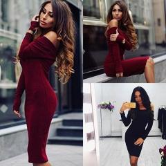Womens Sexy Autumn Winter Long Sleeve Knit Bodycon Sweater Mini Dress Knitwear black s