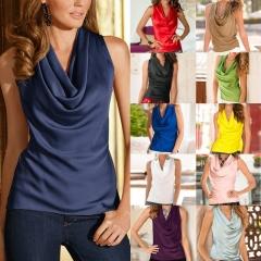 Fashion Women Summer Vest Top Sleeveless Blouse Casual Tank Tops T-Shirt Blouse blue l