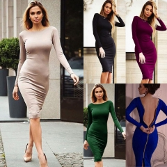 Women Sexy Bandage Bodycon Summer Evening Cocktail Party Long Sleeve Mini Dress blue m