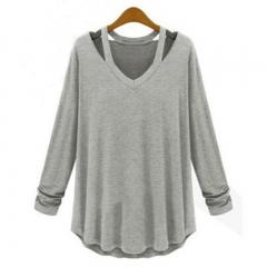 2017 Fashion Women's Casual Long Sleeve V-Neck Cotton Tee Tank Top Shirt Blouse light grey s