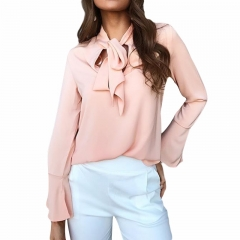 Fashion Women Chiffon Blouse Elegant Long Sleeve Shirt with Bow Tie Office Lady Wear Female Tops pink s