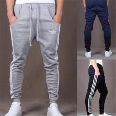 Pop Dynamic Men Casual Sports Skinny Pants Vertical Strip Pants Jogging Slacks grey m