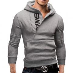 New men hoodies fleece warm pullovers sweatshirts mens hoodies jacket hip hop sportwear light grey m