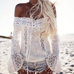 Summer Women Sexy White Embroidery Lace Crop Top Plus Size Clubwear Flare Sleeve Blouse white s