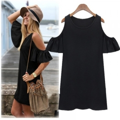 2017 Top Selling Women Fashion Butterfly Sleeve Cotton Cute Strap off Shoulder Vest Dress black m