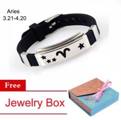 12 Constellation Zodiac Sign Bracelet Couple Lover's Bracelet Jewelry Black&Silver Aquarius