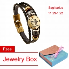 Women's Friendship Bracelet 12 Constellation Zodiac Sign Bracelet Jewelry black aquarius