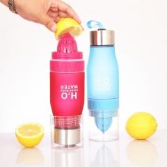 650ml Sports Water Bottle Lemon Juice Maker Cup Juicer Bottle Black 24cm x 7cm