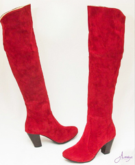 Knee Length Wine Red Ladies Boots Shoes