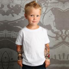 1-7years Boy Kids Tattoo Printed Shirt Children's Long Sleeve T-shirt Clothes white height 31.5