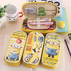 For Boys and Girls Students Gifts Cartoon Yellow Cloth+PU Cases School Pencil Case #1