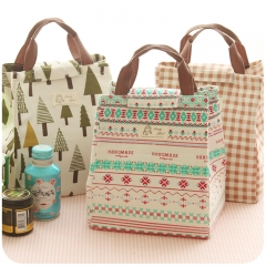 Waterproof Canvas Portable Insulation Bag Lunch bag  9.4*7.9*6.7inch BLUE