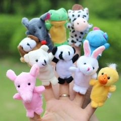10x Cartoon Biological Animal Finger Puppet Plush Toys Dolls for Child Baby To Make Storys as the picture 10 set