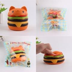 """4.3"""" Soft PU Squishy Toys  Slow Rising Kids Gift Cat Hamburger Style orange one size"""