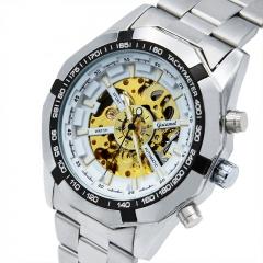 Upscale Men Hollow Watch Korean version Male watch Business Fully Automatic Mechanical Watch white gold Strip one size