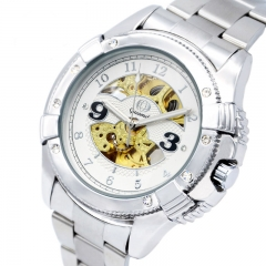 Upscale Hollow Watch Men Fashion Diamond Fully Automatic Watch Mechanical white gold strip one size