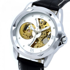 High end Men Hollow Watch Fashion Business Fully Automatic Mechanical Watch white gold  belt one size