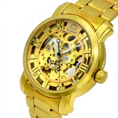 Men Watch supply High end fashion Business Hollow Watch Fully automatic Mechanical watch gold strip one size