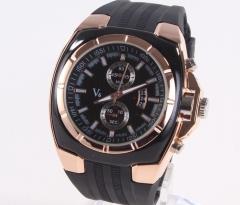 Men's watch black Business Watch Silicone strap quartz Watch black men